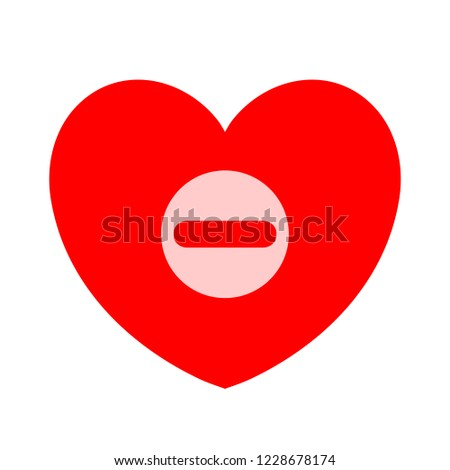 Remove lover symbol - flat vector icon - Remove heart