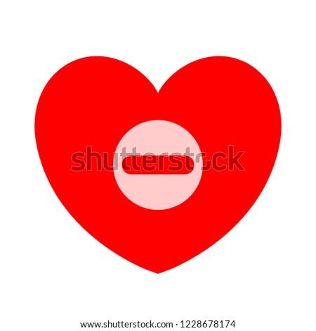 Remove lover symbol - flat vector icon - Remove heart