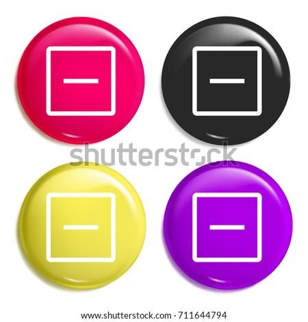 Remove multi color glossy badge icon set. Realistic shiny badge icon or logo mockup
