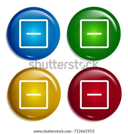 Remove multi color gradient glossy badge icon set. Realistic shiny badge icon or logo mockup