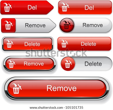 Remove red design elements for website or app. Vector eps10.