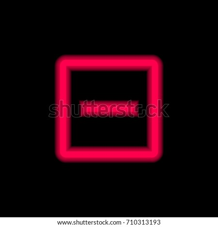 Remove red glowing neon ui ux icon. Glowing sign logo vector