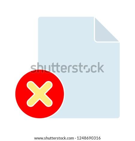 removing document icon - paper and delete sign in circle. Paper design. close symbol