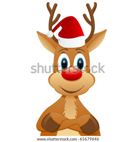 rendeer with Santa hat