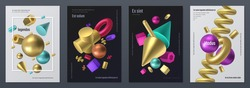 Render shapes poster. Realistic 3D geometry shapes, minimal flyer with abstract isometric elements. Vector render metal figures, illustration set element various shapes