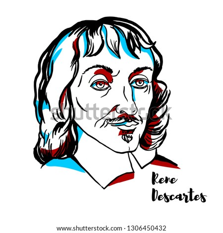 Rene Descartes engraved vector portrait with ink contours. French philosopher, mathematician, and scientist. Foto stock ©