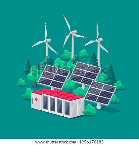 Renewable energy electric power station smart grid system. Flat vector illustration of photovoltaic solar panels, wind turbines and rechargeable lithium-ion battery energy storage for off-grid backup. Stock photo ©