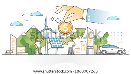 Renewable energy investment as natural future fund strategy outline concept. Alternative electricity and power production financial profit for zero emissions climate approach vector illustration.