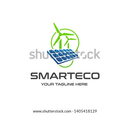 Power station with solar cell and turbines - Download Free Vector