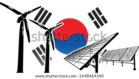 Renewable energy vector concept for Republic of Korea (South Korea) - wind generators and solar power station on flag background, flag colors blue, red, white