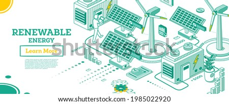 Renewable Green Energy Isometric Concept Isolated on White Background. Vector Illustration. Solar Panels and Wind Power Plants. Sustainable Ecological Power Generation of Clean Energy.