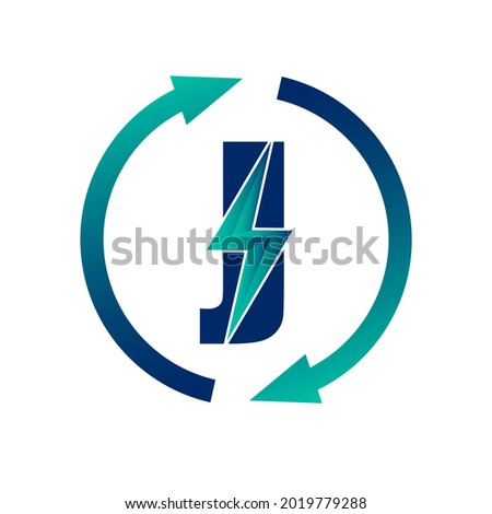 Renewable Green Energy Thunderbolt Letter J Logo Icon Concept. Production of Green Energy Powered by Renewable Electricity.