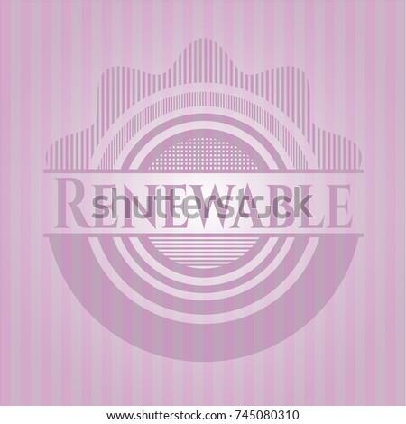 renewable pink emblem. vintage.
