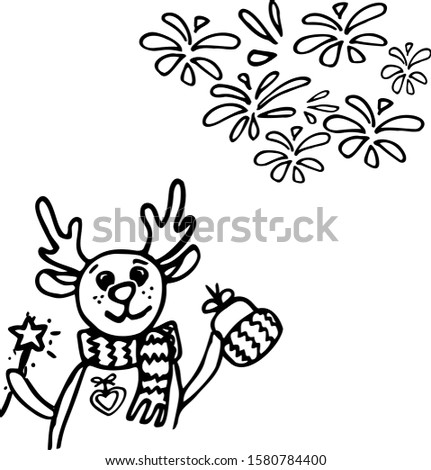 renifer happy new year with medal , x mas gift portret , renifer with star in frame merry Christmas illustration card Zdjęcia stock ©