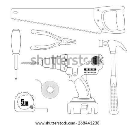 renovation instruments set hacksaw pliers screwdriver drill insulating tape measuring - Tools Coloring Pages Screwdriver