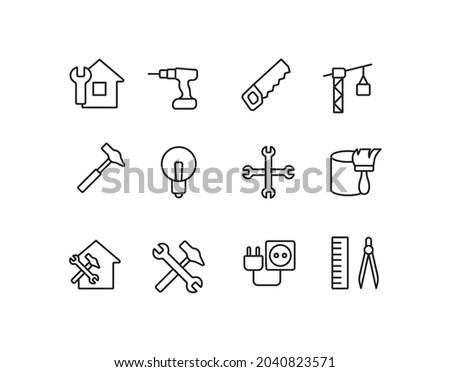 Renovation, repair, dril, construction cran, hammer simple thin line icon vector illustration Photo stock ©