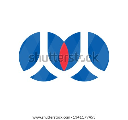 Renren. Icon of eye symbol with shadow. Vector illustration