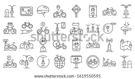 rent a bike icons set outline