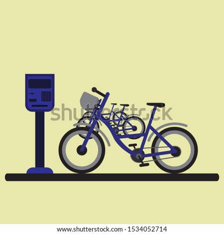 Rent a bike. Rental service. Parking automat. Active and healfy lifestyle. Urban eco-transport system.