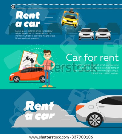 Rent a car. Trading Car in flat design web banners elements. Car key. Car hire.