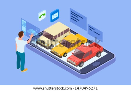Rent car online. Isometric buy car with online phone app. Man chooses a vehicle vector concept. Illustration of online buy automobile, business rental vehicle