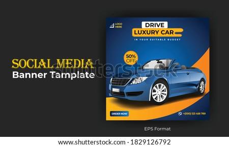 Rent car social media post template design