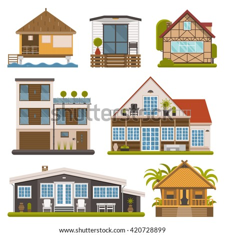 Rent house set. Modern apartments and suites, private cabins, wooden bungalows, chalet and country houses collection for booking and living. Vector house and apartment set. Tourist homes isolated.