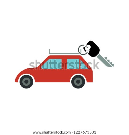 Renting a car. key with car. Modern flat style vector illustration - rent car icon