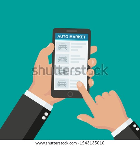 Renting or buying a new or used car. car rental booking reservation on mobile smartphone. Used cars app. Vector illustration background. #1543135010
