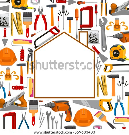 Repair and building house shape poster with vector tools of plaster trowel and paint brush roll, tape measure ruler, drill, hammer and saw, spanner wrench and screwdriver, plane and mallet, pliers