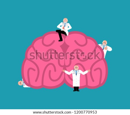Repair and maintenance brain. miniature Doctor and brains. Medical service. repairs team is repairing cerebrum