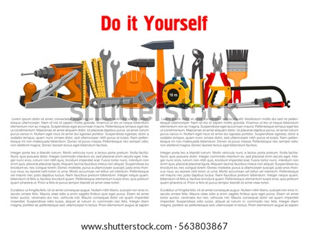 Repair, building and home fix work tools toolkit of vector hammer and saw or fretsaw, plane and drill, spanner wrench and safety hat, measure tape ruler, pliers and paint brush with screwdriver