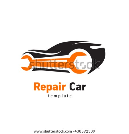 Repair Car logo, silhouette ca and wrench, sign emblem service