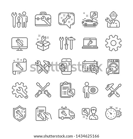 Repair car service line icons. Set of Screwdriver, Hammer and Spanner tool icons. Recovery, Washing machine repair, Car service. Engineer tool, Tech support. Spanner equipment, screwdriver. Vector