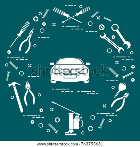 Repair cars: automobile, wrenches, screws, key, pliers, jack, hammer, screwdriver. Design for announcement, advertisement, banner or print.