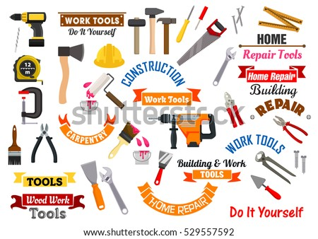 Repair, construction and carpentry work tools. Vector isolated icons, badges,  fretsaw, pliers, hammer, nail puller, saw, tape measure, spanner, screwdriver, safety helmet, trowel, paint brush