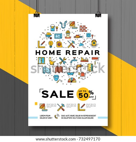 Repair House Poster, Renovation Home template. Sale flyer, Vector flat illustration, line icons