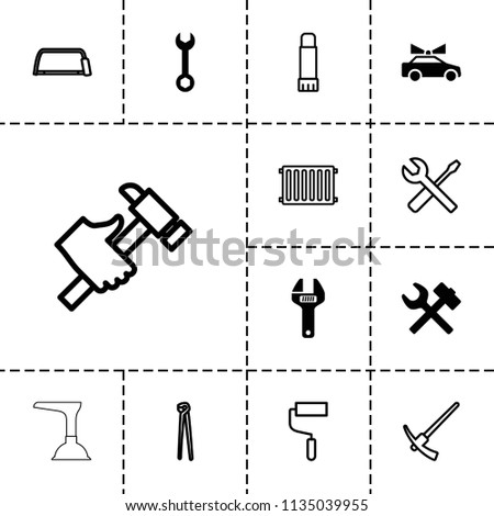 Repair icon. collection of 13 repair filled and outline icons such as wrench, wrench hummer, roller, hacksaw, pliers, hummer. editable repair icons for web and mobile.