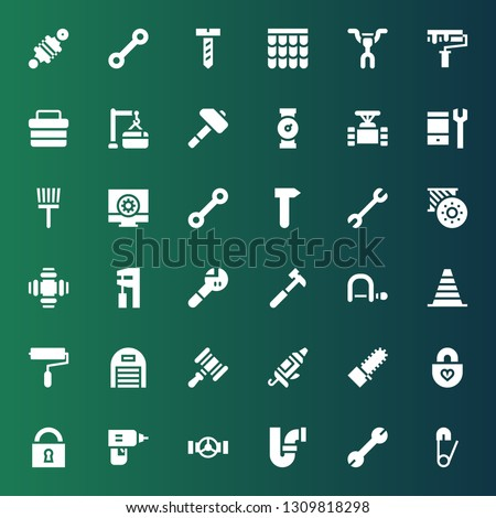 repair icon set. Collection of 36 filled repair icons included Safety pin, Wrench, Pipe, Drill, Padlock, Mechanical saw, Caulk gun, Hammer, Garage, Paint roller, Cone, Hacksaw
