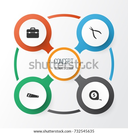 Repair Icons Set. Collection Of Toolkit, Handsaw, Meter Elements. Also Includes Symbols Such As Round, Saw, Toolkit.