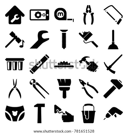 Repair icons. set of 25 editable filled repair icons such as hammer, plunger, drill, hacksaw, pliers, trowel, paint bucket, camera wheel, wrench, gear on display, home repair