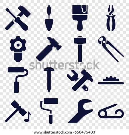 Repair icons set. set of 16 repair filled icons such as pin, hammer, nail, hummer, hummer and wrench, roller, pliers, paint brush, trowel, garden hammer, camera wheel, wrench