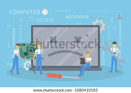 Repair of broken computer. People fixing the system. #1080410183