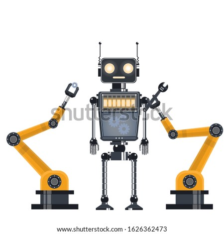 Repair of the robot. Industrial robot. Vector illustration