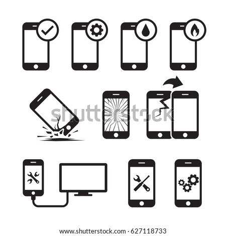 Repair, service and maintenance mobile or smart phone icons set. Black on a white background