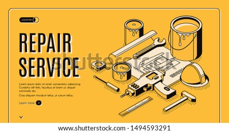 Repair service isometric landing page, engineering construction plan with tools for house renovation as paint, drill, helmet. Architect building company service 3d vector web banner template, line art