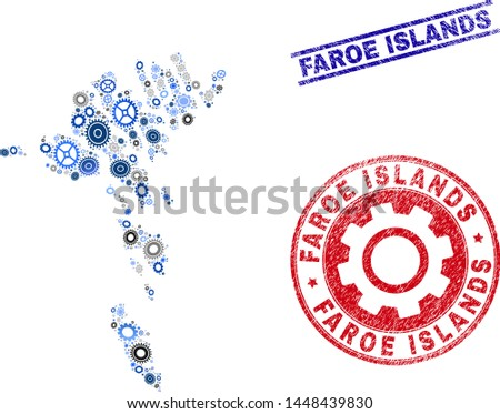 Repair service vector Faroe Islands map collage and stamps. Abstract Faroe Islands map is composed of gradient random cogwheels. Engineering territorial scheme in gray and blue colors,