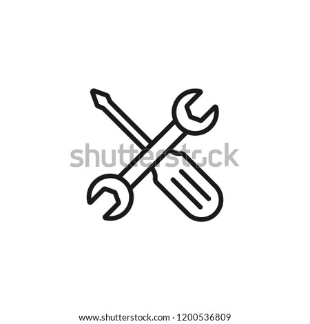 Repair service vector line icon isolated on white background. Screwdriver and wrench concept of repair service line icon for infographic, website or app.