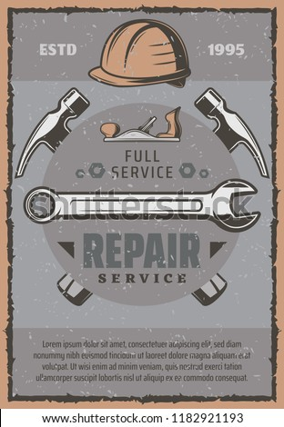 Repair service work tools and items. Hammers, wrench and spanner, hard hat, jack plane and screw tools. Construction, carpentry and building company theme