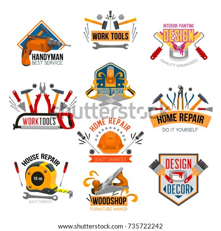 Repair tool and carpentry instrument construction symbol set. Screwdriver, hammer, drill, wrench, pliers, spanner, paint brush, roller, screw, tape measure, helmet and jack plane vector emblem design